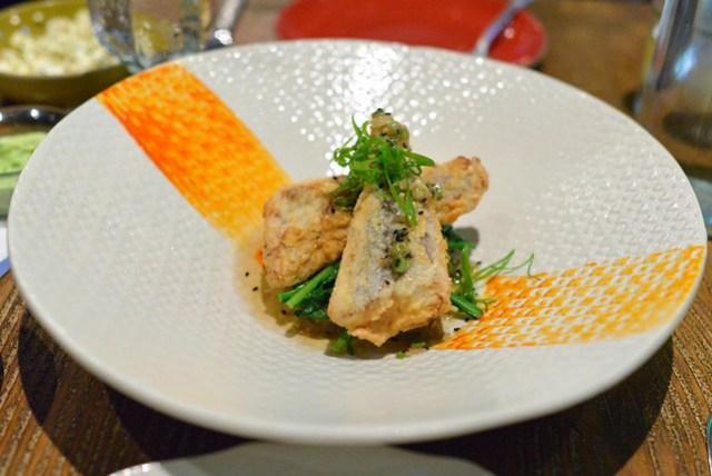 Tapioca Crusted Tai Snapper, Broccolini, White Soy Vinaigrette