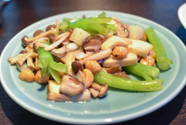 Three-style mushroom stir-fry with macadamia nut