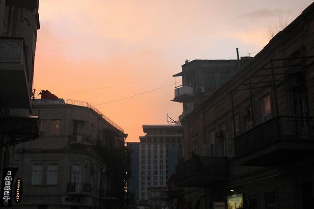 Sunset over Georgian restaurant