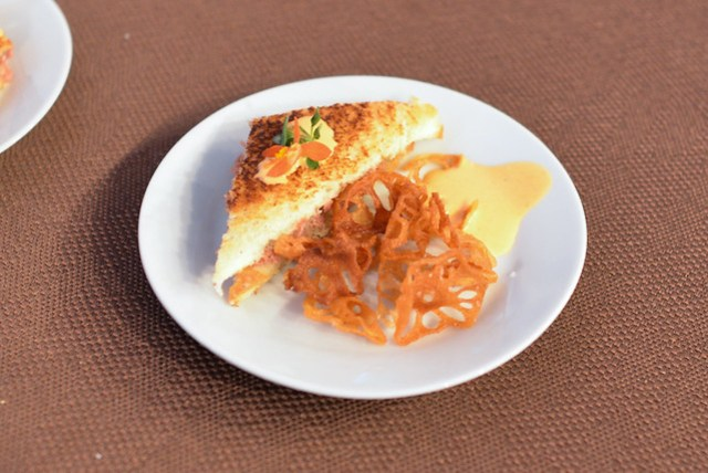 Lola Restaurant duck rillettes & peach chutney grilled sandwich