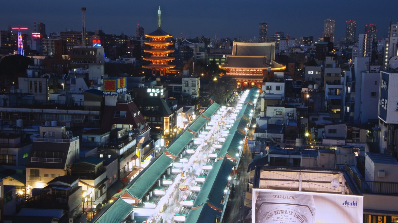 Miharashi Cafe view of Asakusa in Tokyo