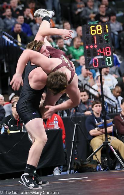 195AA - 5th Place Match - Neil Hanson (Milaca-Faith Christian) 35-4 won by major decision over Travis Capelle (Stewartville) 24-10 (MD 9-1)