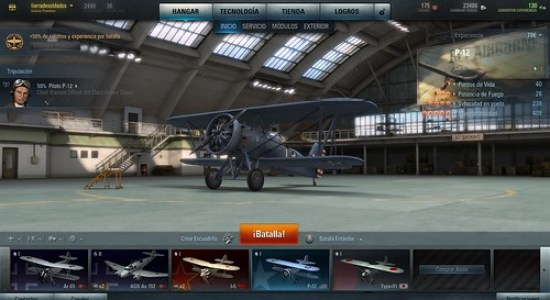 Hangar de aviones de World of Warplanes