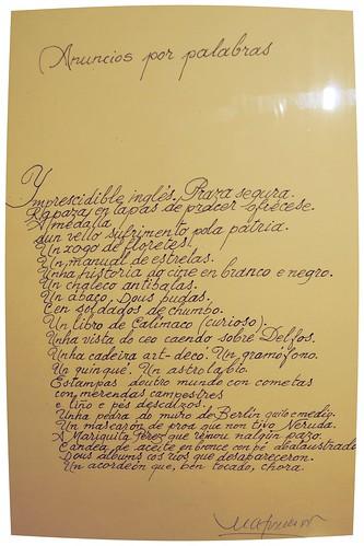 Anuncios por palabras. Poema manuscrito de Manuel Alvarez Torneiro, conservado na Biblioteca Municipal de Estudos Locais