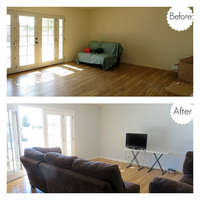 Gold Polka Dots - Living Room Progress before and after