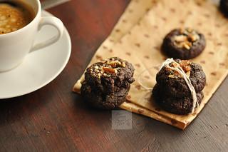 Day 182.365 - Dark Chocolate Caramel Thumbprint Cookies