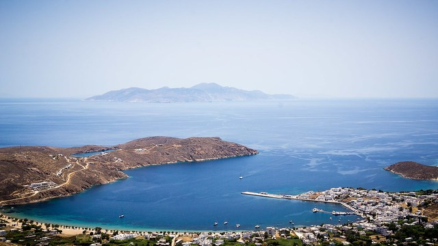 View of Livadi Harbour from Serifos Chora