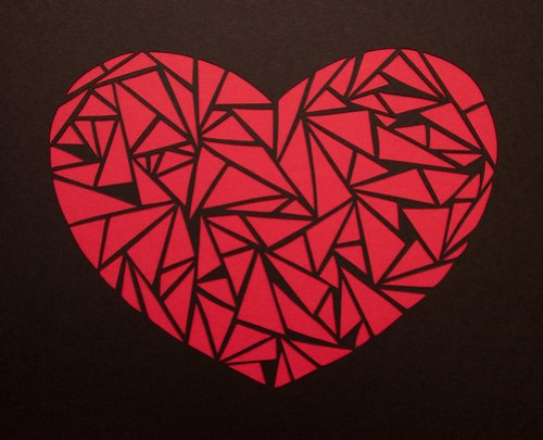 Abstract paper cut heart-7