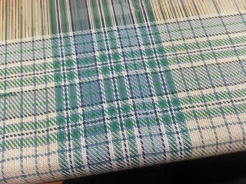 Handwoven plaid tea towel weaving