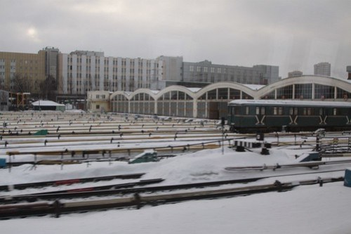 Looking across the Moscow Metro depot at Фили (Fili)
