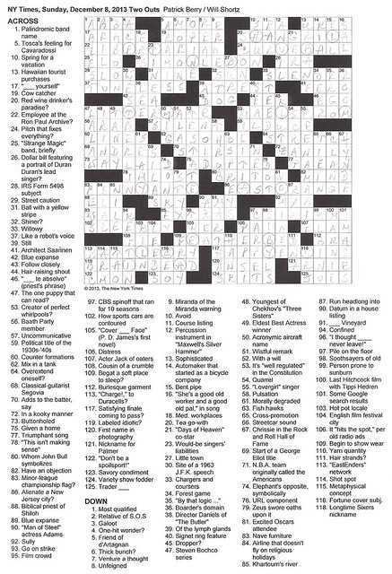 NYT Sunday Puzzle - December 8, 2013