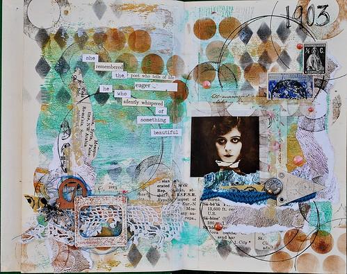 poet, art journal page, ALLassiter