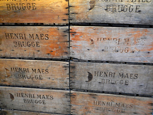 wooden boxes at the Bruges (Brugge) brewery tour