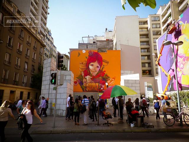 #Inti único, grande y nuestro! Están increíbles los murales a la salida del metro #BellasArtes en #Santiago en el Festival @HechoenCasaFest