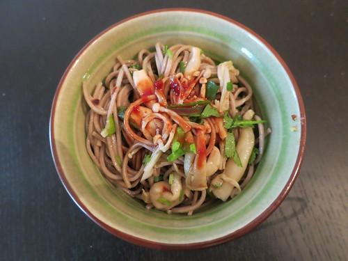 Spicy shimeji and enoki mushroom soba noodle salad