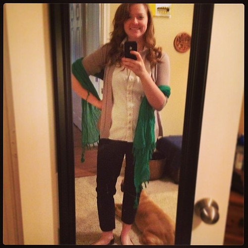 I'm a wee bit blurry in today's #ootd! New SJ Green scarf from Target to combat our weird work AC.