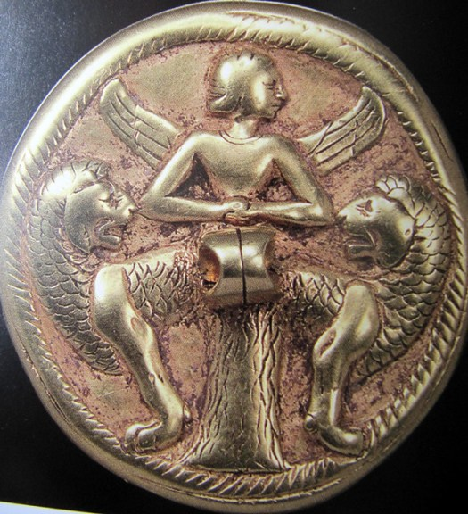 Gold seal - Ishtar as Mistress of Animals, Turkmenistan, ca 2000 BC, Schaffhausen Museum