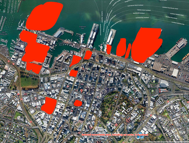 Map of Auckland CBD brownfields sites