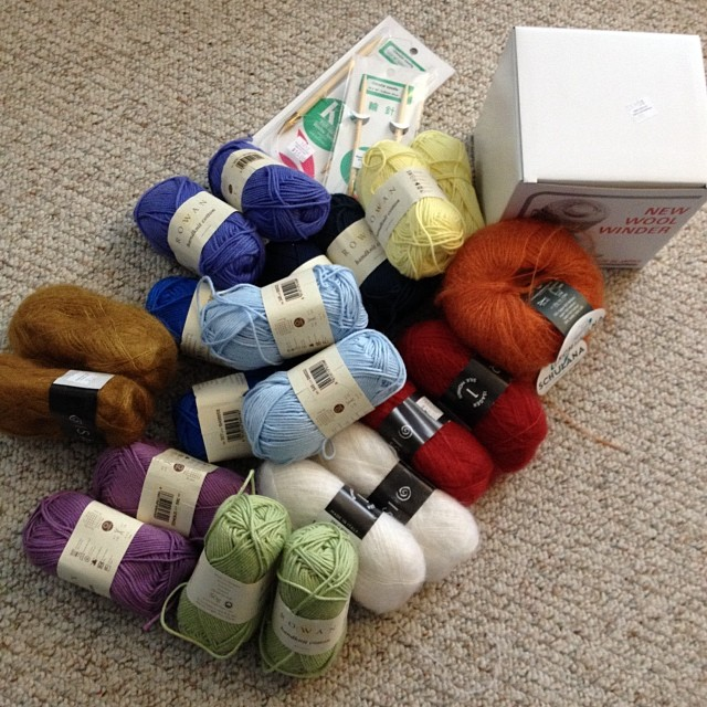 This is what it looks like to spend a yarn store paycheck (or two) at the yarn store.