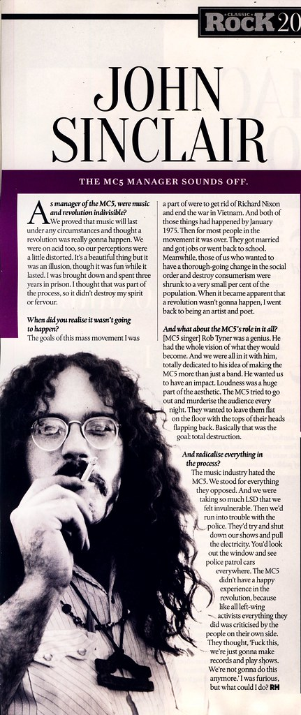John Sinclair - Classic Rock Magazine - Rob Hughes interview - August 2014