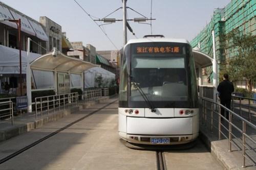 Waiting for passengers at the Zhangjiang Hi-Tech Park terminus