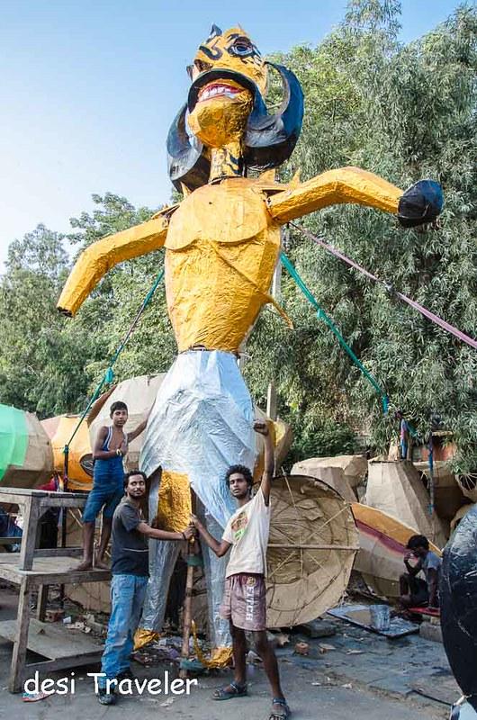 Giant effigy of Ravana with Ravana Makers