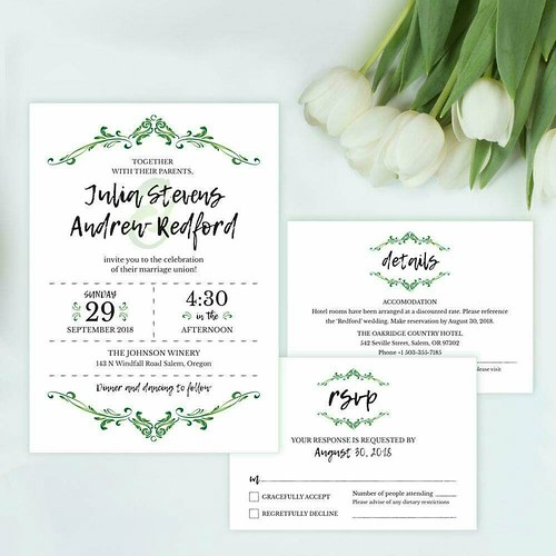 Green flourish wedding invitation, details and RSVP card template printable supplied as a PDF format http://etsy.me/2nkIQ3B #greenwedding #weddinginvitations #beautifulwedding #invitations #diyinvitations #weddings #diywedding #best #gorgeous #floral #vin