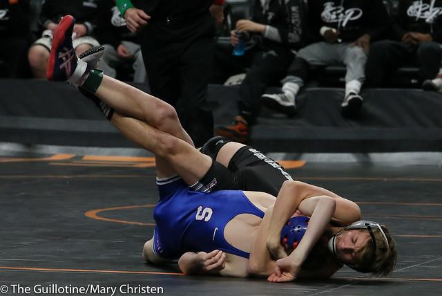 120 - Justin Stauffacher (Scott West) over Bennett Tabor (Simley) Maj 12-3