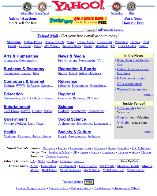Yahoo! early morning of March 3, 1999