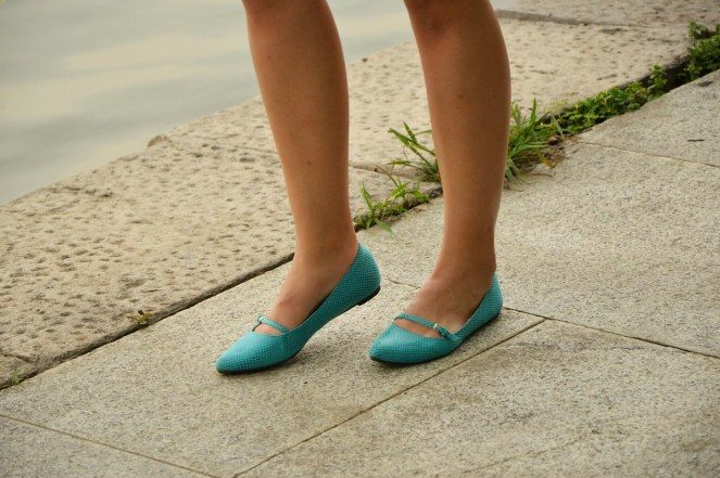 pointed toe turquoise flats, london rebel shoes