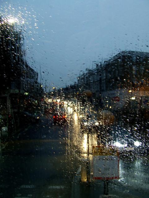 rainy bus ride near Queens Park Station