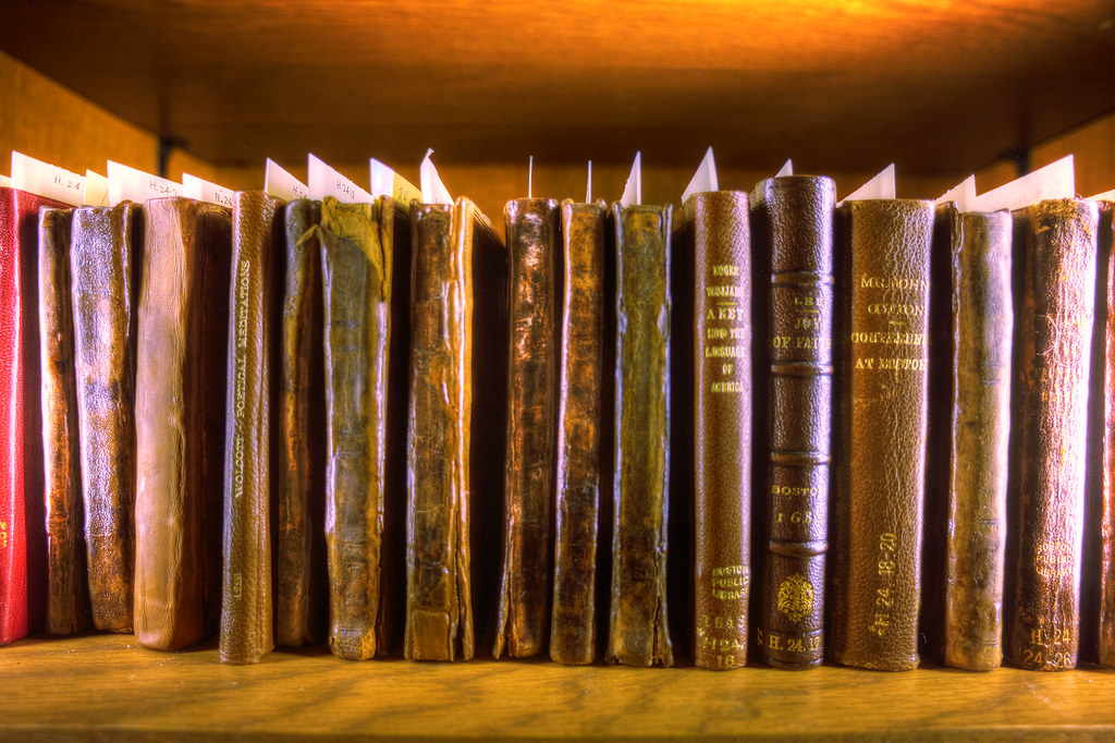 One of the numerous shelves of John Adams' books.
