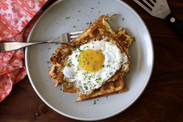 latke waffles + crispy egg