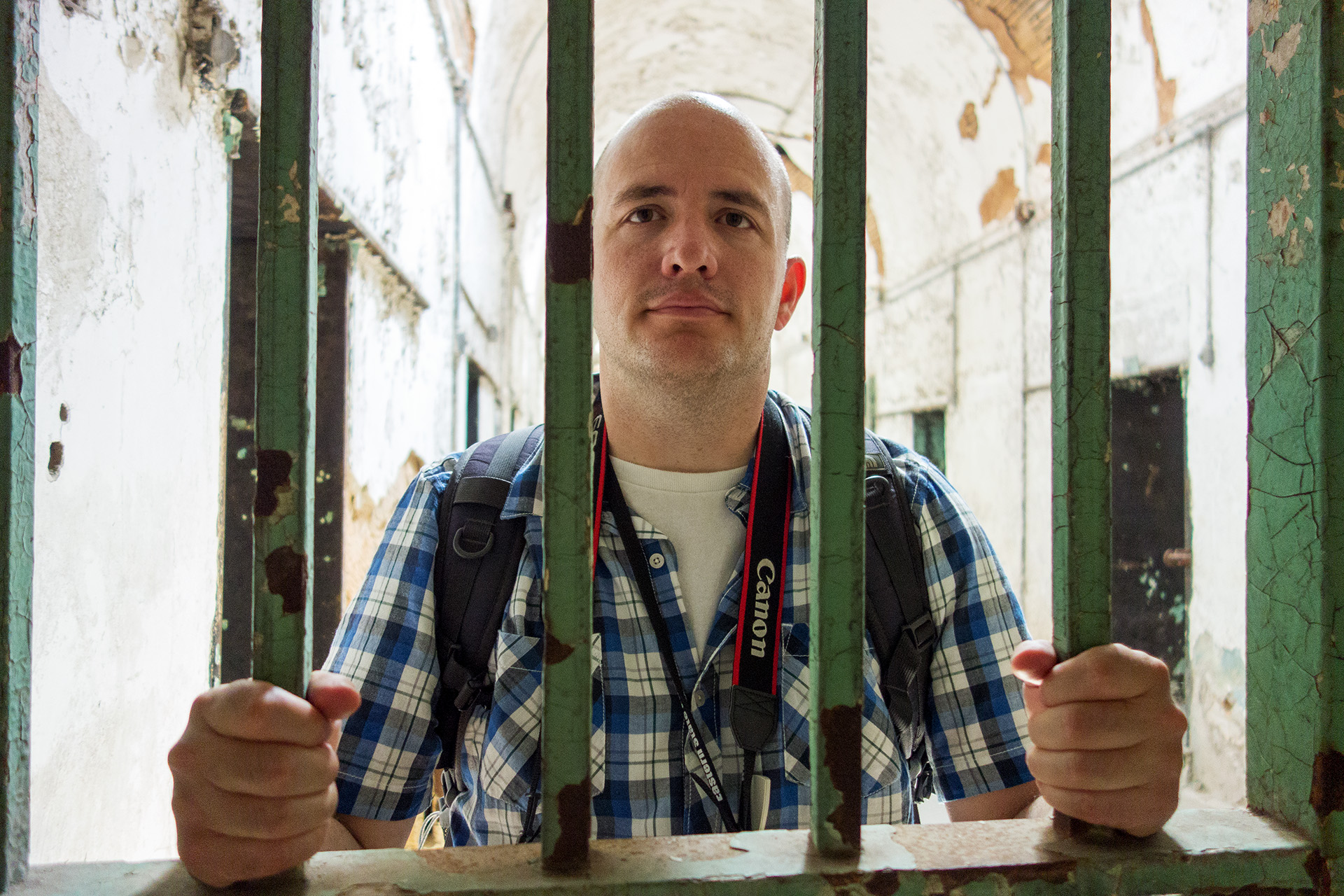 Maynard locked up at Eastern State Penitentiary.