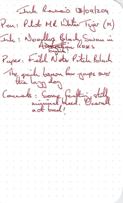 Noodler's Black Swan in English Roses - Field Notes - Ink Review