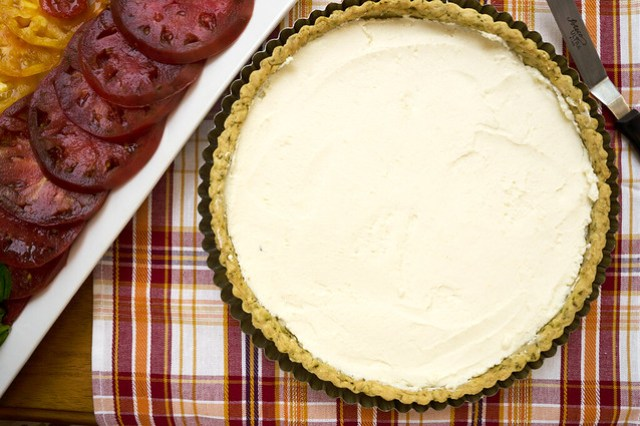 tart filled with ricotta