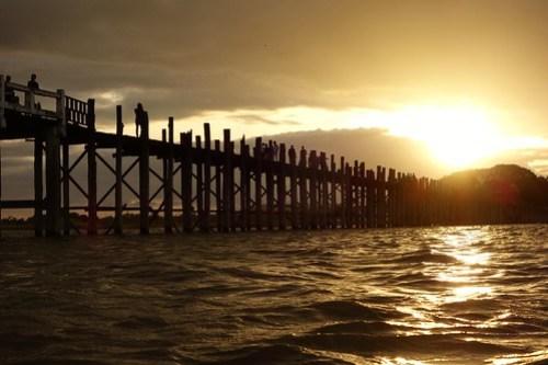 Sunset U-Bein bridge Myanmar