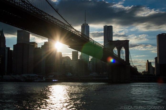 Setting Sun on Manhattan from Brooklyn Bridge