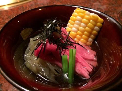 茄子とうちももの肉素麺@うしごろ 銀座店