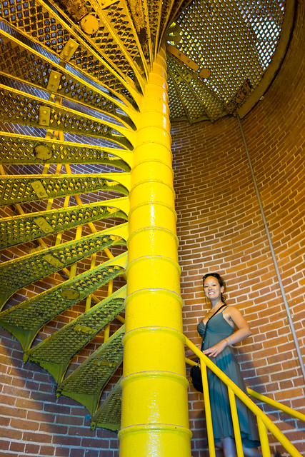 Glinda climbing the 217 steps to the top of Barnegat Lighthouse.