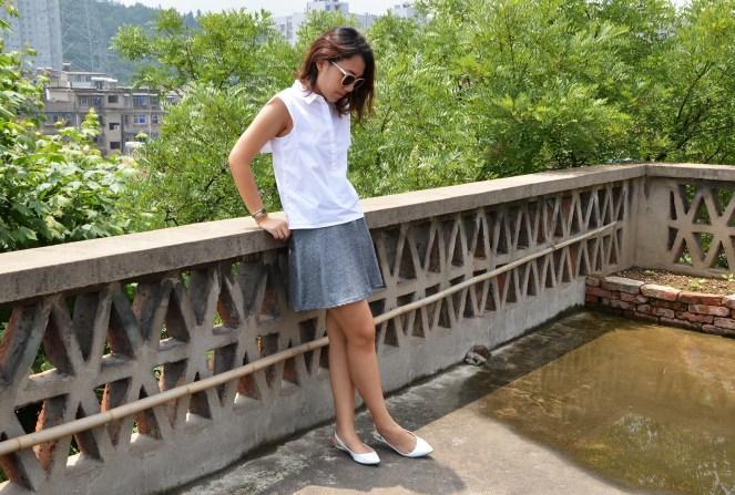 Mango white blouse, gray skater skirt, white pointed toe flats