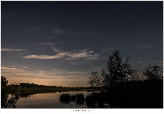 Collage van de foto's met de Perseïden meteoren
