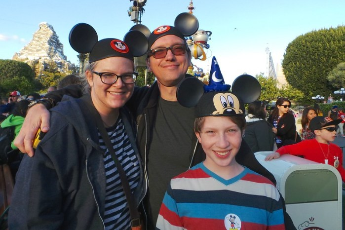 Disneyland family in Mickey Mouse ears hats