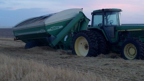 Tractor and grain cart stuck