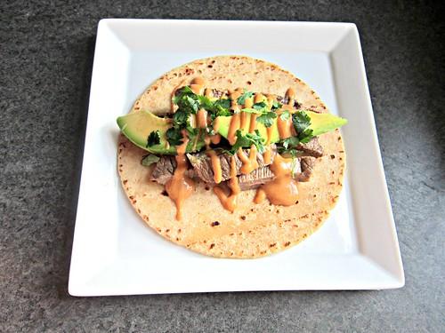Steak Tacos with Sriracha Peanut Butter Sauce