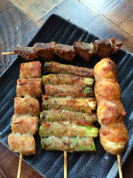 Yakitori Skewers| Quail Egg, Asparagus & Enoki Mushroom, Chicken Gizzards