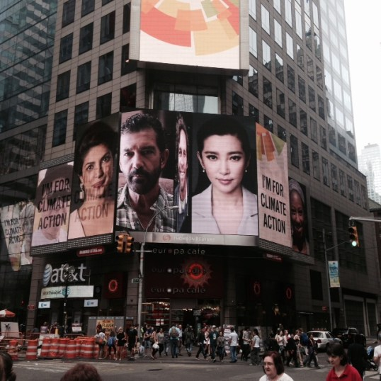I'm for Climate Action video on the Reuters building in Times Square
