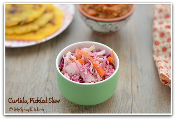 Pickled Slaw, Pickled Cabbage, El Salvadorian Food, El Salvadorian Cuisine, Blogging Marathon, Around the World in 3 Days with ABC Cooking,