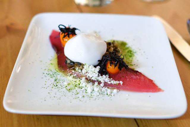 tuna, seaweed foam kumquat, shimeji mushroom