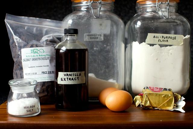 salt, chocolate, vanilla, eggs, butter, flour and sugar